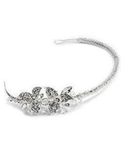 silver-plated wedding headband featuring a small floral design encrusted with glamorous rhinestones and shimmering clear crystals.