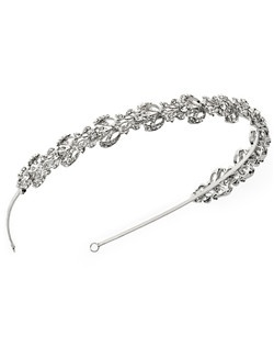 Reagan rhinestone wedding headband is simply stunning. Crystal clear round cut rhinestones are set in a repeating pattern for a classic look.