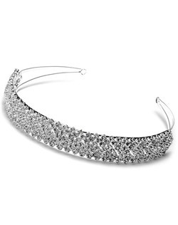 Silver-toned headpiece, encrusted with brilliant genuine Austrian crystals.