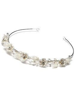 A delicate flower wedding headband with a layer of Swarovski crystals, clear rhinestones,  glass pearls and porcelain flowers woven around the silver plated base.""