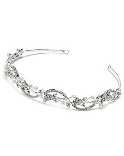 This headband is encrusted with rhinestones and soft white pearls.