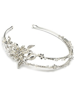 Two-strand, hand-wired wedding headband  with  rhinestones and elegant pearls, entwined to form a floral and leaf design on the side.