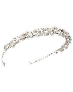 Soft ivory pearls and rhinestones come together in this pretty wire-wrapped bridal headband.