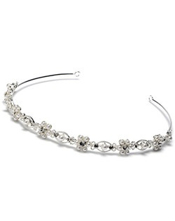 This headband is designed with a delicate row of soft white faux pearl flowers accented in the middle with a Genuine Austrian Rhinestone.