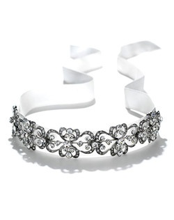 Elegant Bridal Ribbon Headband is a  vintage-style, antique silver ornamental bridal headband on satin ribbon.
