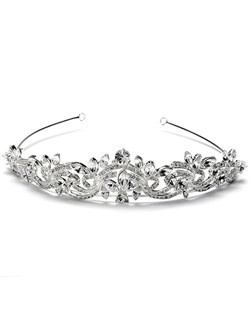 This silver-plated, rhinestone crown is encrusted with sparkling rhinestones.