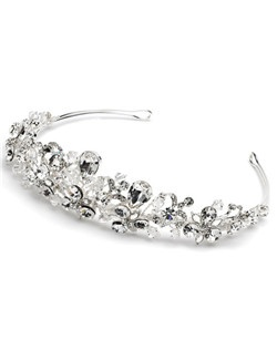This wedding tiara is made with large rhinestones and Swarovski Crystals.