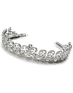The tiara features an intricate scrolling pattern and is encrusted with Cubic Zirconia crystals.
