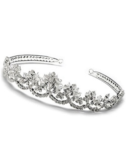 Odessa Tiara features flowering layering of Swarovski Rhinestones and embedded on a 14 inch silver-plated headband.