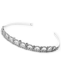 The delicate curves of this headpiece are encrusted with Austrian Rhinestones and entwined with crystals