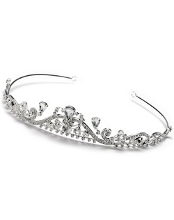 This tiara crown has a graceful design and encrusted with rhinestones.