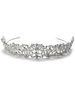 This tiara crown has a rhinestone encrusted scrolling pattern accented with five large glistening rhinestones.