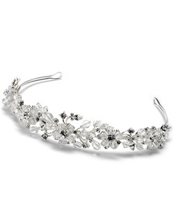 A hand-made tiara made with a mixture of crystal beading, Swarovski Crystals and rhinestones.