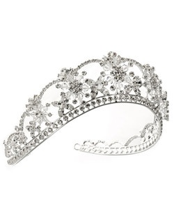 Brilliant sterling silver plated tiara made of rhinestones and Swarovski Crystals.