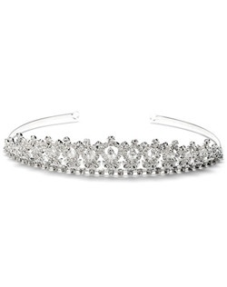 This silver plated crown is encrusted with brilliant rhinestones and laced with crystals that add delicate detail.