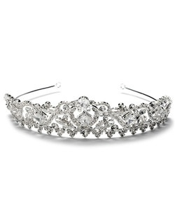 This silver-plated wedding crown features rhinestones and an elegant scrolling design.