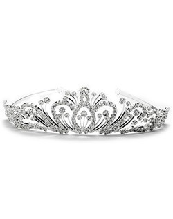This silver-plated, rhinestone tiara crown is encrusted with brilliant, sparkling rhinestones!