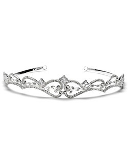 Mystique Tiara is modern wedding tiara with princess cut, rhinestones entwined with a flowing floral swirl pattern.