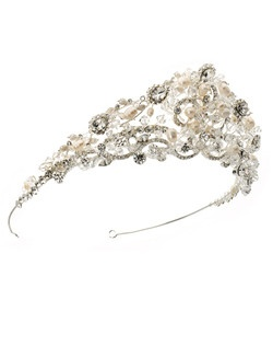 It is intricately hand-wired with a spectacular array of Freshwater Pearls, Swarovski Crystals, and Austrian Rhinestones.
