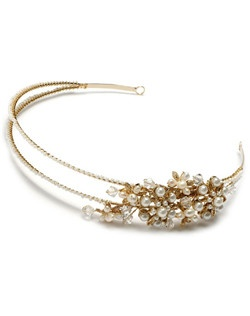 Wisteria Pearl Gold headband is a a double banded headpiece that features Swarovski crystals, fresh water and faux pearl side ornament.