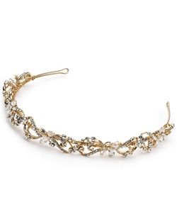 This bridal headband in gorgeous gold tone pairs the sparkle of delicate rhinestones in three sizes with the structural brilliance of Swarovski crystals that have been securely hand wired for ease of wear.
