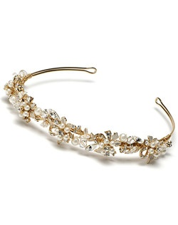 Irina Gold Headband is a delicate floral headband featuring lustrous, ivory faux pearls, sparkling rhinestones and Genuine Swarovski Crystals.