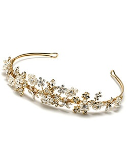 This gold-tone tiara is hand-wired with blooms comprised glittering Austrian crystals and lustrous ivory faux pearls.