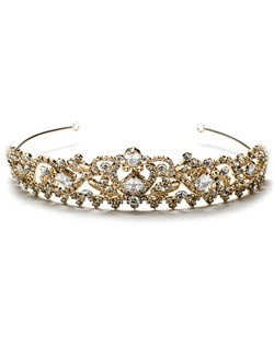 This gold-plated crown features sparkling rhinestones and an elegant scrolling design.