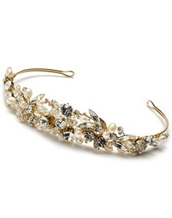 Ivory and pearl, gold-plated tiara headband that features sparkling rhinestones, Swarovski crystals, freshwater and large lustrous faux ivory pearls.
