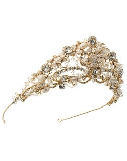 It is intricately hand-wired with an array of Freshwater Pearls, Swarovski Crystals, and Austrian Rhinestones with shapes rangning from chunky teardrop rhinestones and hand picked natural pearls, to multi-faceted crystals and delicate bugle beads.