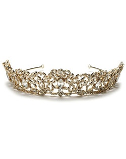 This tiara crown has a gorgeous rhinestone encrusted scrolling pattern accented with five large glistening rhinestones.