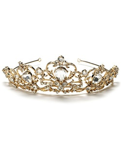 This royal gold crown features sparkling rhinestones and a gold plated curling design.