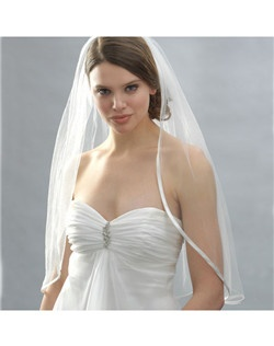 "This veil has a 3/8"" wide ribbon edge that beautifully outlines the edge of the veil."