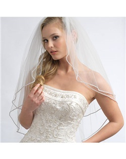 The edging on this veil is made with finest quality, Swarovski rhinestones! Available in Elbow and Fingertip length.
