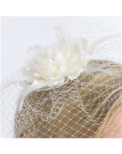 Bloom Flower with Cage Veil features a graceful soft layered chiffon and silk flower clip with rhinestone flower center attached to a delicate cage veil.