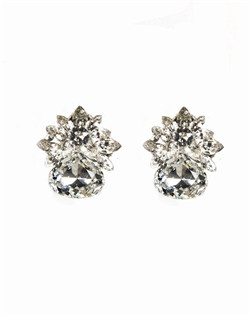 This uniquely designed stud is adds a gorgeous touch of glamour to a bridal gown or formal affair. This pear drop Swarovski crystal stud features navette accents set in sterling silver.