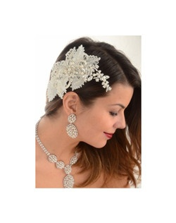 Stunning ivory vintage lace pearl beaded wedding headpiece