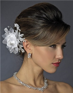 Rhinestone, Crystal, Lace, Satin & Organza Flower Bridal Hair Clip