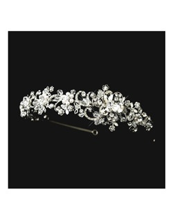 Valentina - GORGEOUS antique silver pearl wedding headpiece