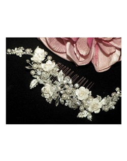Embrace - Romantic ivory roses crystal wedding hair comb