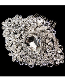 Royalty - GORGEOUS Antique Silver Swarovski crystal wedding hair Comb