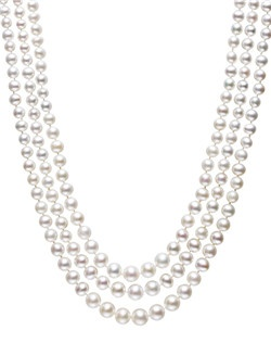 Let waves of pearl wash over your neckline. Belle de Mer's three graduated strands of cultured freshwater pearls (4-8mm) create a classic layered look. Clasp crafted in sterling silver. Approximate length: 17-19 inches.