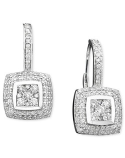 Vintage inspiration. Round-cut diamonds (1 ct. t.w.) in a chic square pattern adorn Effy Collection sparkling drop earrings. Crafted in 14k white gold. Approximate drop: 3/4 inch.