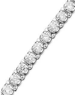 Round-cut diamonds (5 ct. t.w.) are set in 14k white gold for a bold, luxurious statement. 5 carat diamond bracelet measures 7 inches