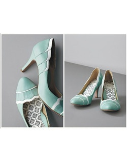 """Audrey Hepburn a la Breakfast At Tiffanys-inspired scalloped toe and heel pump.  Completely original, whimsical, and unforgettable.                                                                             Each pair of shoes features: • Invisible """"wing"""" arch support • Dancer's fit toe box • Full insole of shock-absorbent Poron memory foam • Balanced and centered heel • Soft Italian kid leather lining • 100% silk satin or leather uppers  • Buffed leather soles"""