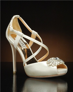 Peep toe platform with criss-cross straps and toe embellishment