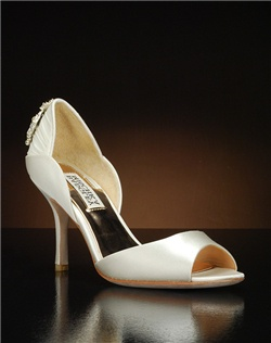 Peep toe d'orsay with heel embellishment