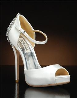 Ankle strap platform d'orsay pump with heel embellishment