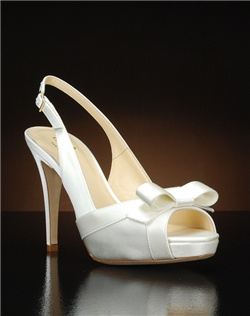 Peep toe slingback platform with bow