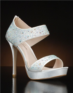 Open toe ankle strap heel with rhinestones